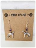 Hand Crafted 925 Sterling Silver Whippet Greyhound Sighthound Amethyst Gemstone Earrings