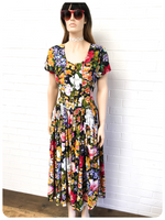 VINTAGE 1980's DOES 50's FLORAL TEA FULL CIRCLE SWING DRESS 10