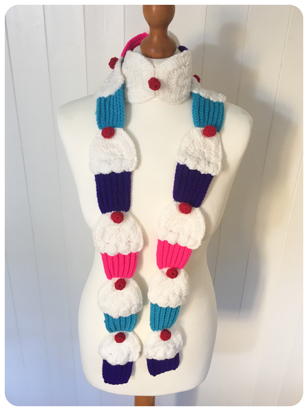 GORGGEOUS CUTE HAND CROCHET CUPCAKE SCARF KAWAII