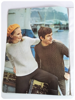 VINTAGE 1960's ORIGINAL PATONS BOOKLET 12 FAMILY DESIGNS IN ARAN BOOK 154 KNITTING PATTERNS