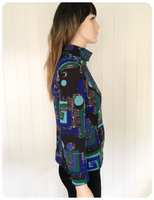 VINTAGE 1960's 1970's PSYCHEDELIC ROLL NECK TOP BOHO HIPPIE MOD UK 10-12