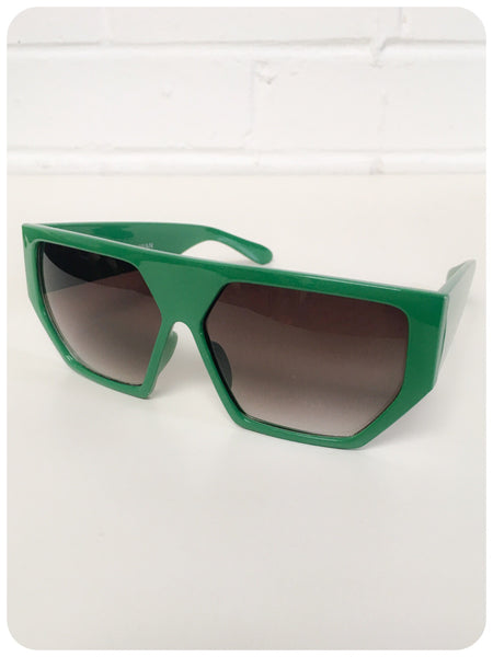 Vintage 90s Oversize Green Geometric Hexagon Indie Rave Grunge Sunglasses Dead Stock UV400