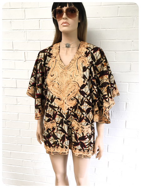VINTAGE 70's INDIAN BLOCK PRINTED EMBROIDERED COTTON KAFTAN SMOCK TOP 10-14