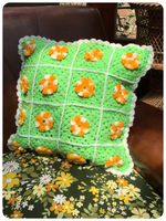 VINTAGE 70's HAND CROCHET GRANNY SQUARE FLOWERS CUSHION COVER