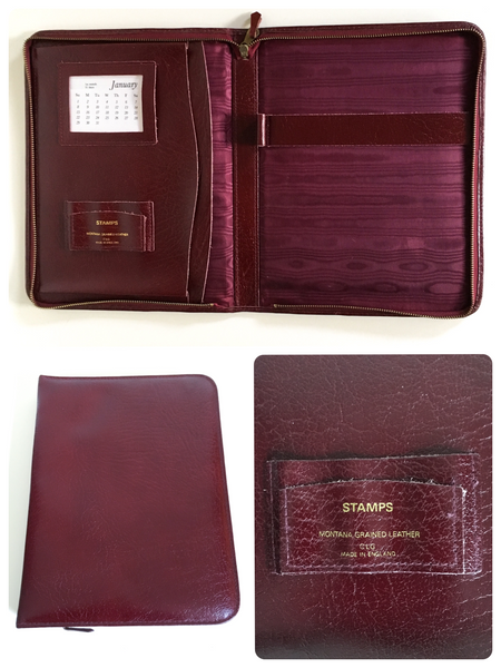 VINTAGE 1960's OXBLOOD RED LARGE LEATHER WRITING TRAVELLING FOLDER CASE