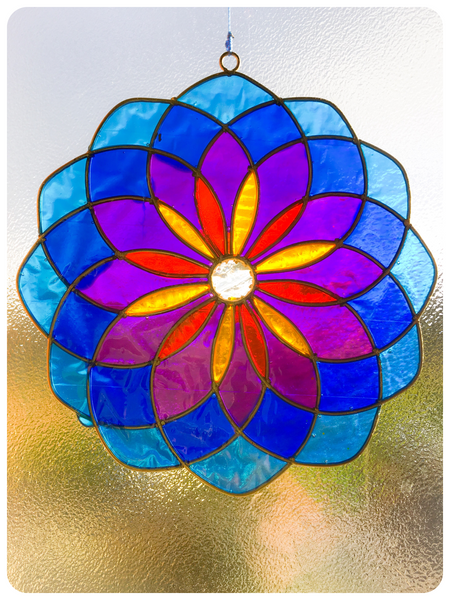 Bohemian Balinese Sun Catcher Stained Glass Mandala