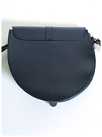 VINTAGE 70's 80's NAVY BLUE THICK LEATHER SADDLE SHOULDER BAG