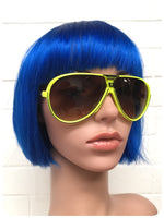 Vintage 80s/90s Brand New Deadstock Big Neon Yellow Sport Aviator Sunglasses
