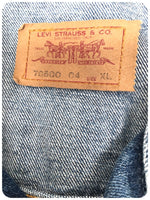 Vintage Retro 70s Levis 70500 04 Blue Denim Trucker Jacket Size Large