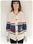 ORIGINAL VINTAGE CHUNKY HAND CROCHET QUIRKY KITSCH CUTE CARDIGAN