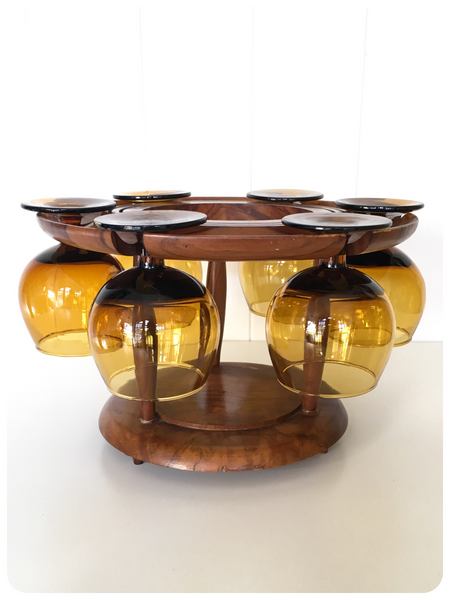 MID CENTURY VINTAGE BRANDY COGNAC AMBER GLASS SET & TEAK DISPLAY STAND