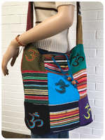 Hand Made Indian Patchwork Om Ohm Large Cross Body Bag