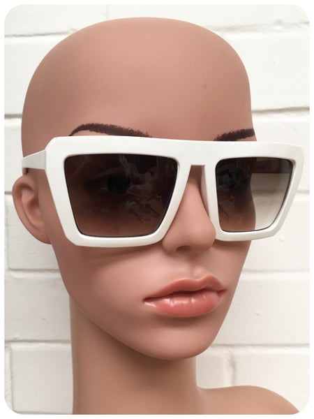 Vintage 90s Oversize White Super Geometric Cartoon Sunglasses Dead Stock UV400