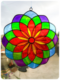 Boho Balinese Sun Catcher Stained Glass Mandala