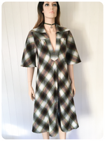 ORIGINAL VINTAGE 1970s PLAID CHECKED WOOL DRESS BOHO UK 12 14