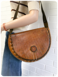 Vintage 70s Tooled Large Tan Leather Saddle Bag
