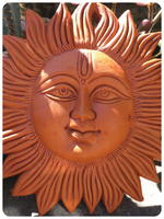INDIAN SMILING SUN TERRACOTTA WALL PLAQUE