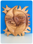 VINTAGE HAND CARVED WOODEN SUN & MOON UNITY WALL PLAQUE BOHO HIPPIE