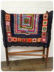 Vintage 70's Style Bohemian Hand Crochet Granny Square Blanket