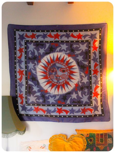 Indian Wall Hanging Sun & Stars Blue