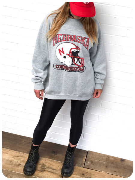 True Vintage 80s Oversize U.S College Varsity Football Sweatshirt Sweat Jumper