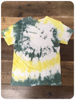 Original 80s/90s Stone Roses Style Washed Out Yellow Green White Tie Dye Tee T-Shirt Size XS