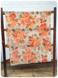 Vintage 1970's Mid Century Bohemian Orange Floral Net Curtain Panels