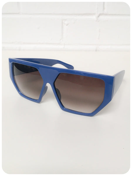 Vintage 90s Oversize Blue Geometric Hexagon Indie Rave Grunge Sunglasses Dead Stock UV400