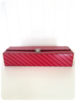 VINTAGE RETRO 70's 80's RED STRIPE AUDIO CASSETTE TAPE STORAGE CARRY CASE BOX