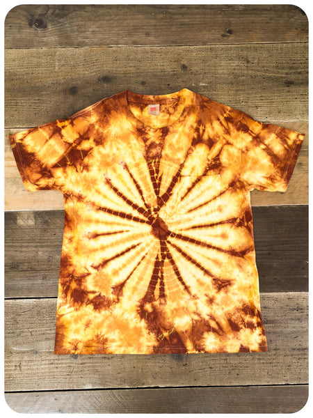Original 80s/90s Stone Roses Style Yellow Gold Brown Tie Dye Tee T-Shirt Size S