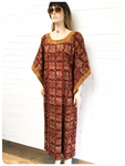 VINTAGE 70's INDIAN BLOCK PRINTED EMBROIDERED COTTON KAFTAN MAXI DRESS 12 - 14