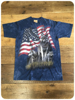 2001 U.S. Tie Dye  Wildlife Tee Stars And Stripes Wolf Pack T-Shirt