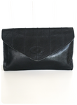 SUPER SOFT BLACK GENUINE LEATHER ORIGINAL 1970's ENVELOPE CLUTCH BAG
