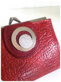 VINTAGE 1950's 60's ART DECO RED GENUINE LEATHER PURSE