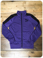 Women's Retro Purple Puma Zip Up Track Tracky Top Jacket