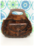 Vintage 70s Bohemian Tooled Deep Tan Leather Saddle Bag Handbag