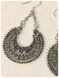 Retro Boho Hippie Gypsy Tribal 925 Sterling Silver Crescent Moon Earrings