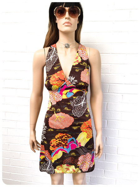 ORIGINAL VINTAGE 1970s BOHEMIAN PSYCHEDELIC MINI SUN DRESS 12-14