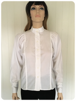 VINTAGE 1980'S NEW ROMANTIC VICTORIANA WHITE LACY BLOUSE UK 10-12