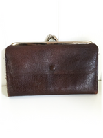 VINTAGE 1950's 60's DARK BROWN GENUINE LEATHER PURSE