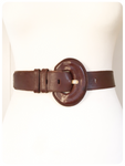 VINTAGE 80's DEEP TAN THICK LEATHER CINCH WAIST BELT 8-10