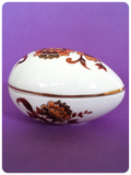 VINTAGE 1960's 1970's BONE CHINA FLORAL EGG SHAPED TRINKET POT BOX