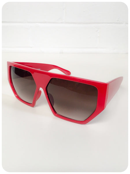 Vintage 90s Oversize Red Geometric Hexagon Indie Rave Grunge Sunglasses Dead Stock UV400