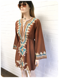 VINTAGE 70's INDIAN EMBROIDERED COTTON DRESS SMOCK TUNIC 10 - 12