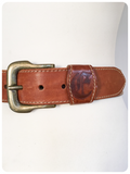 VINTAGE 80's TOOLED DEEP TAN LEATHER CINCH WAIST BELT 6-10 BOHEMIAN
