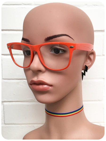 Retro 80s Orange Wayfarer Horn Rim Clear Lens Geek Glasses Frames Specticles