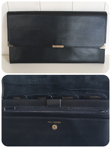 ORIGINAL VINTAGE 70's 80's BLACK GENUINE LEATHER TRAVEL DOCUMENT WALLET BAG