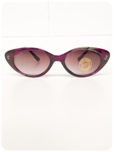 Vintage 1980s Purple Peacock Inlay Frames Cat Eye Sunglasses Brand New Deadstock