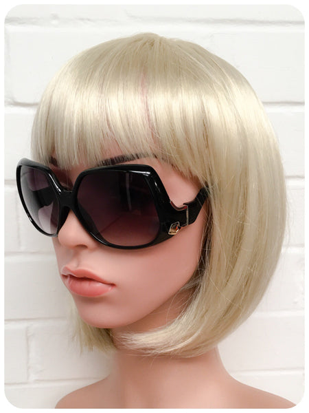Retro 70s Oversize Big Bug Swan Arm Black Frame Sunglasses