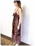 VINTAGE 1970s INDIAN BOHEMIAN BLOCK PRINTED FESTIVAL MAXI DRESS 12-14